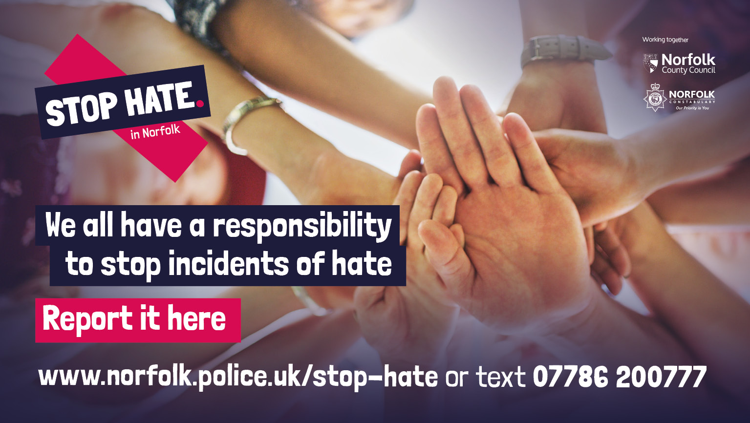 Stop Hate in Norfolk campaign banner