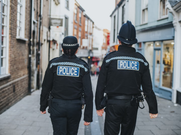 Two police officers on foot patrol